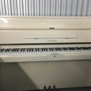 Elysian White Upright Piano